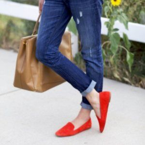 J. CREW Darby Suede Italian Coral Loafers 5.5 NEW